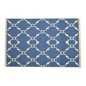 Blue Patterned Rug With Tassels - IN403