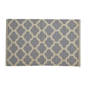 Grey Moroccan Quatrefoile Pattern Rug - IN397