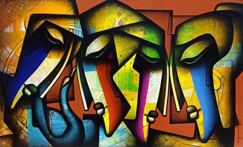 Jagannath paul   deeply immersed in love painting verandah art treniq 2 1572877857370