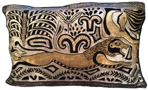Hunting-Lion-Pillow_Via-Venezia-Textiles_Treniq_0