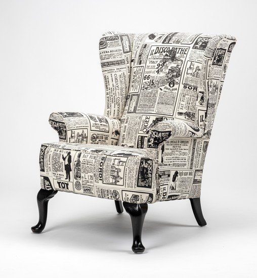 The 'old news%22 wingchair. rhubarbchairs treniq 1 1575502386163
