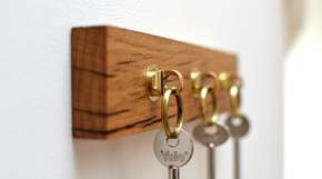 Reclaimed French Oak Key Holder With Solid Brass Key Fobs