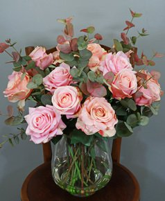 Mixed Pink Roses with Eucalyptus Spray