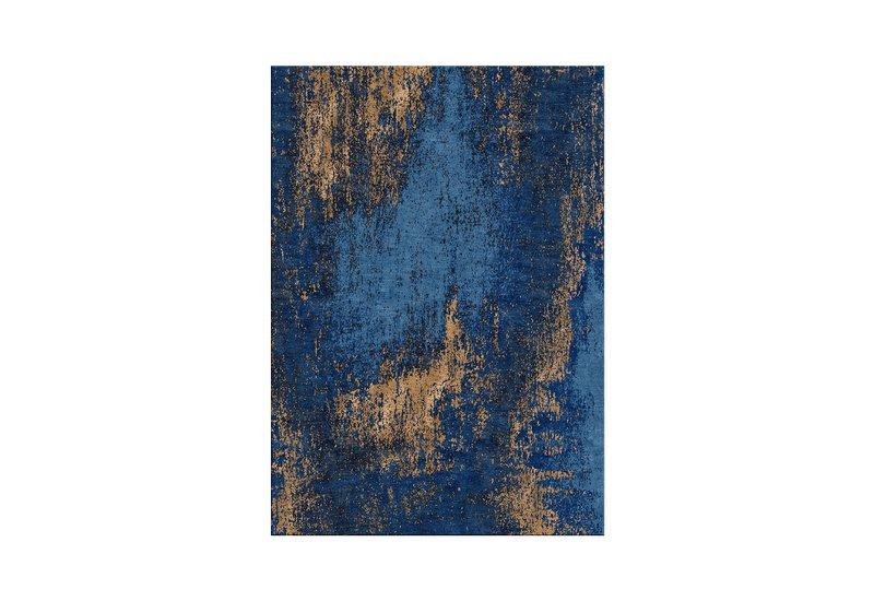 Washed denim blue and copper rug bazaar valvet treniq 1