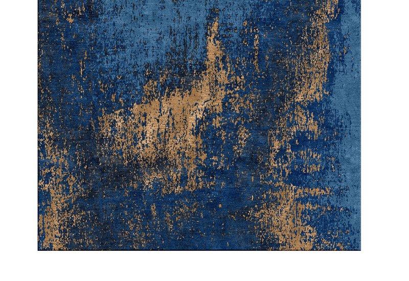 Washed denim blue and copper rug bazaar valvet treniq 3