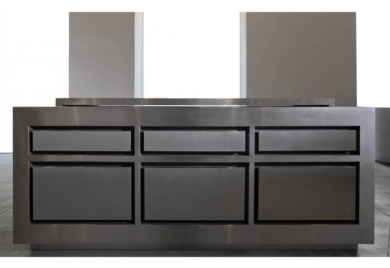 Semplice matt stainless steel and wenge wood kitchen strato treniq 1
