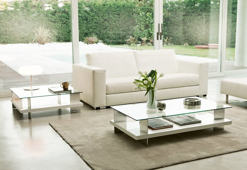 Corallo Coffee Table - Silver, Transparent,White, Glass, Metal,Wood ...