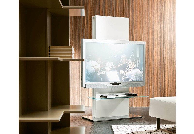 Totem TV Stand - Transparent, White, Glass, Wood, Scandinavian, TV ...