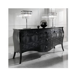 Black Lacquered Alligator Designer Cabinet - Juliette's Interiors - Treniq