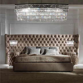 Button Upholstered Leather Italian Bed with Extended Headboard - Juliette's Interiors - Treniq