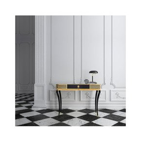 High End Decorative Black Gold Console - Jennifer Manners - Treniq