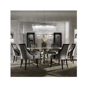 Large Round Italian Champagne Leaf Dining Table and Chairs Set - Jennifer Manners - Treniq