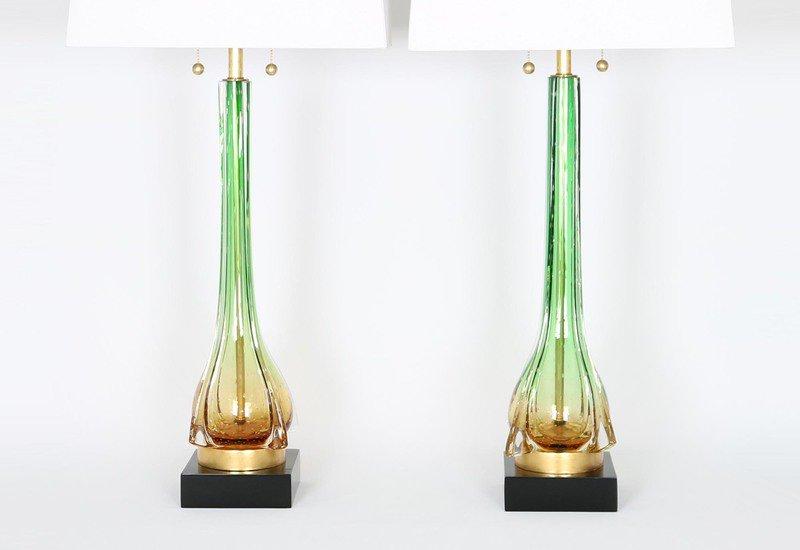 Murano green and gold lamps sergio jaeger treniq 3