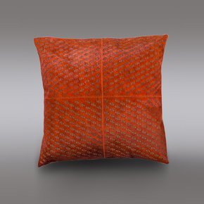Burnt Orange Hide Cushion - Casa Botelho - Treniq