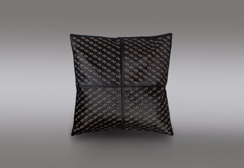 Pitch black hide cushion casa botelho treniq 1