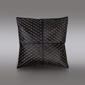 Pitch Black Hide Cushion - Casa Botelho - Treniq
