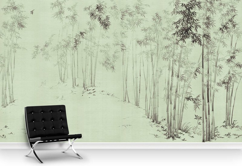 Bamboo forest green panel mural sources treniq 5