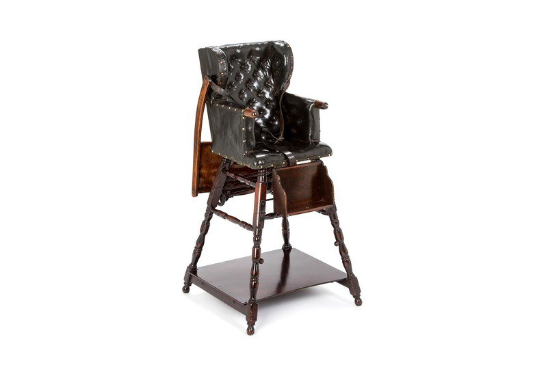 Late victorian high chair rhubarb london treniq 1  sc 1 st  Treniq & Late Victorian High Chair - Black Wood Leather English Or ...