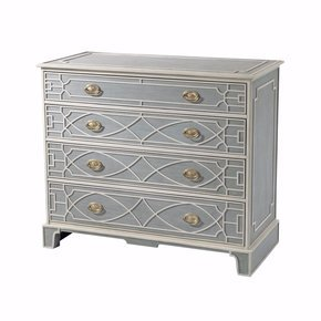 Chinese Chippendale Blue and White Painted Chest
