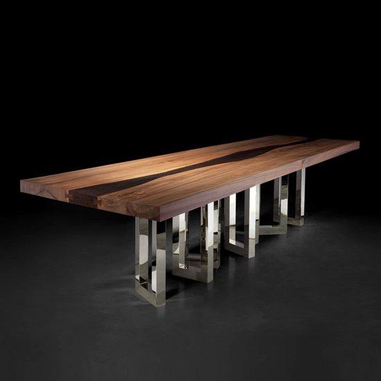 Il pezzo mancante il pezzo 6 table solid walnut and wenge nickel base 1