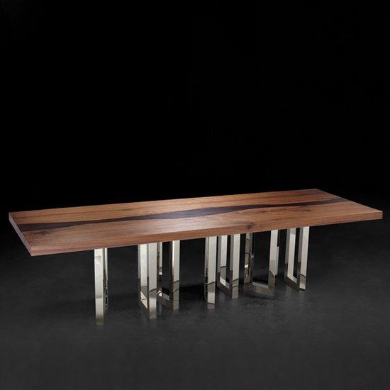 Il pezzo mancante il pezzo 6 table solid walnut and wenge nickel base 2