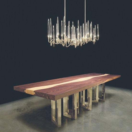 Il pezzo mancante il pezzo 6 table solid walnut il pezzo 3 led and crystal chandelier