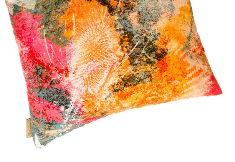 Fire thistle velvet cushion mairi helena treniq 3
