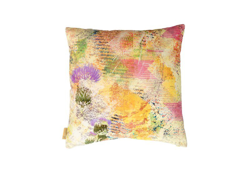 Harris green thistle velvet cushion mairi helena treniq 1