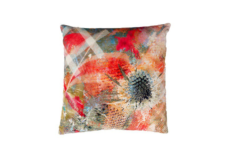 Summer thistle velvet cushion mairi helena treniq 1