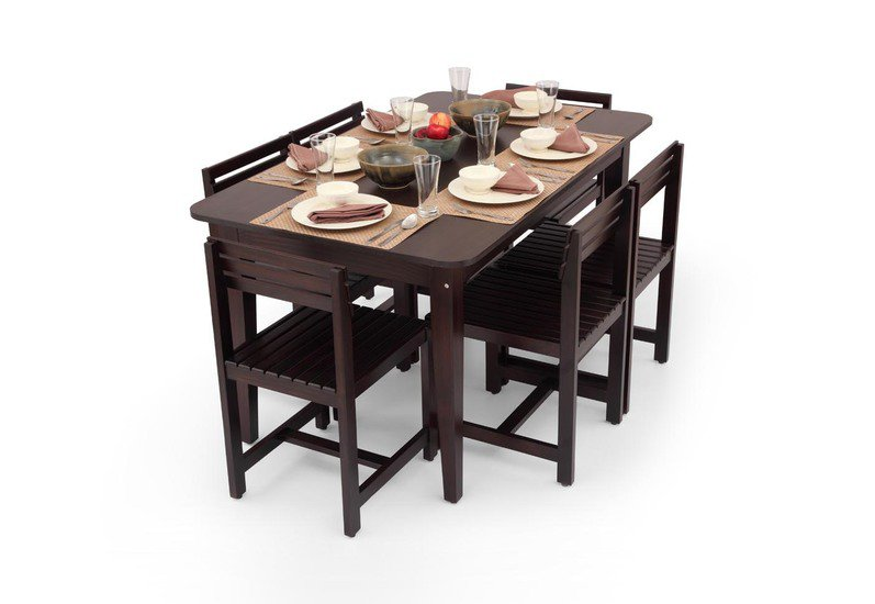 Rectangular Six Seater Dining Table Set