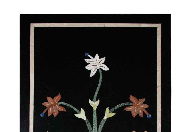 Floral black marble wall hanging carved additions treniq 2