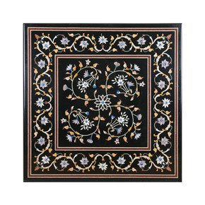 Lush Floral Inlay Tabletop - Carved Additions - Treniq