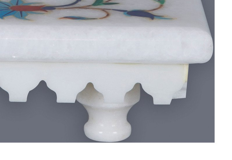Floral inlay white marble stand carved additions treniq 3