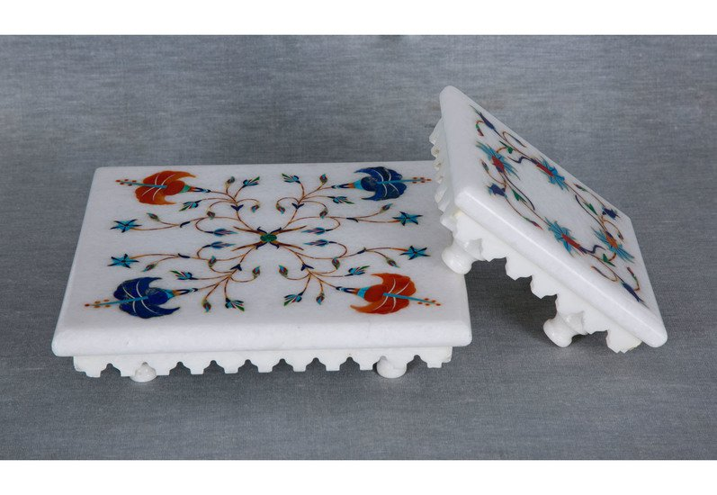 Floral inlay white marble stand carved additions treniq 5