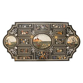 Pietre Dure Inlay Tabletop-Carved Additions-Treniq