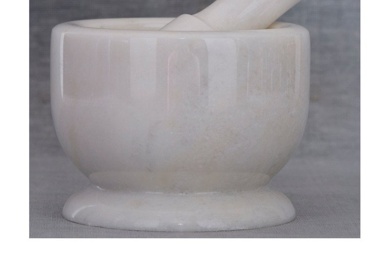 White marble motar pestle carved additions treniq 3