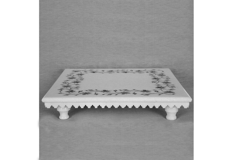Floral inlay white marble stand carved additions treniq 1