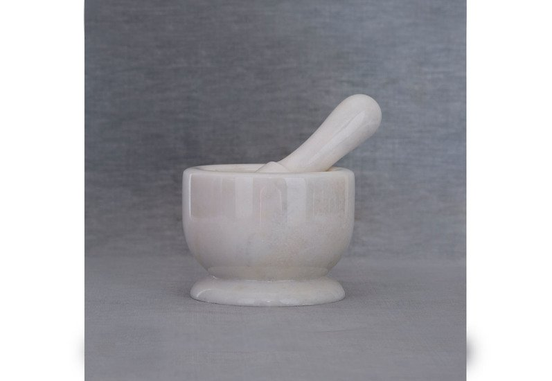 White marble motar pestle carved additions treniq 1