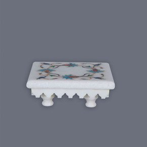 Floral Inlay White Marble Stand - Carved Additions - Treniq