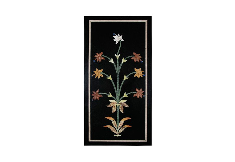 Floral black marble wall hanging carved additions treniq 1