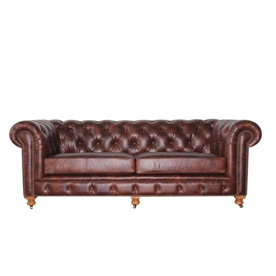 Shakunt impex brown leather sofa