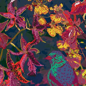 Tropical Botanical Flowers Fabric