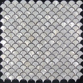Freshwater Shell Mosaic in Fish Scale Pattern