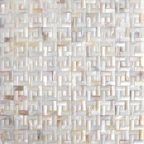 Natural River Shell convex design Mother of Pearl mosaic on mesh