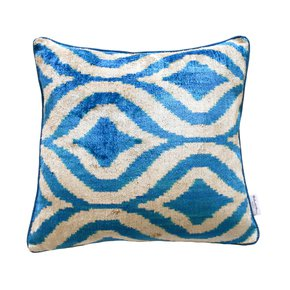 Ikat Cushion Blue Clouds