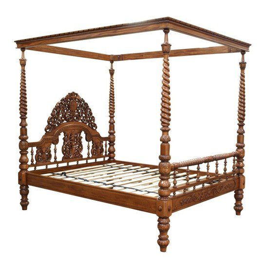Ornate carved 4 poster bed in mahogany bd85