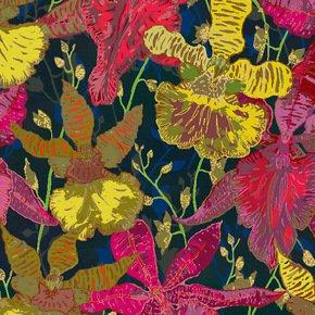 Botanical Pink & Yellow Flowers Fabric