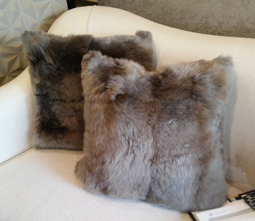 Long wool cushion  taupe  size 50cm x 50cm