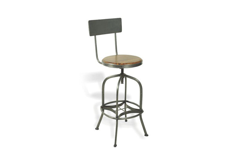 Industrial High Back Swivel Bar Stool Antique And Vintage By Shakunt