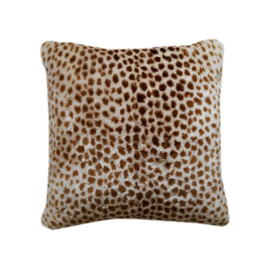 Shorn lamb animal print cushion  natural white and brown